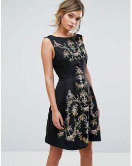 Embroidered Skater Dress