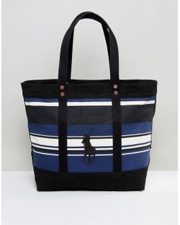 Stripe Tote Bag With Polo Embroidery Canvas In Black