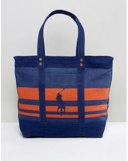 Stripe Tote Back Polo Embroid Canvas In Navy