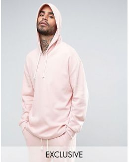 Waffle Oversized Hoodie In Pink Exclusive To Asos