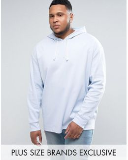 Plus Waffle Oversized Hoodie In Blue Exclusive To Asos