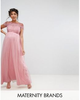 Cold Shoulder Lace Maxi Dress