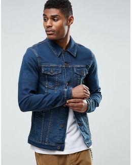 Super Skinny Denim Jacket In Mid Blue Wash