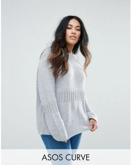 Oversized Jumper With Rib Detail