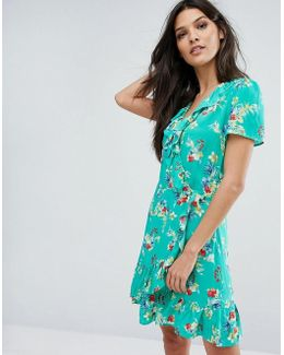 Wrap Front Floral Print Tea Dress