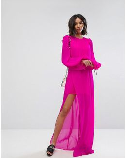Silk Chiffon Maxi Dress In Bright Pink