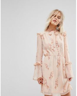 Light Floral Tie Neck Tea Dress