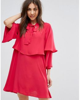 Flute Sleeve Tie Front Smock Dress