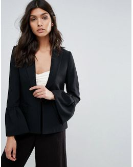 Blazer With Fluted Sleeve