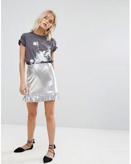 Silver And Frill Peplum Skirt