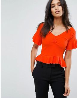 Off The Shoulder Frill Hem And Sleeve In Rib