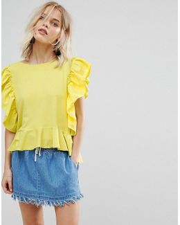 Frill Front Jersey Top