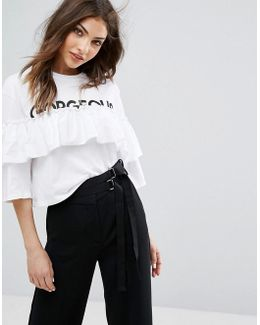 Ruffle Gorgeous Slogan Top