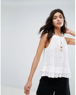 All Over Crochet And Lace Peplem Top
