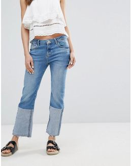 Patched Straight Leg Jean