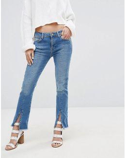 Split Front Cropped Kick Flare Jean