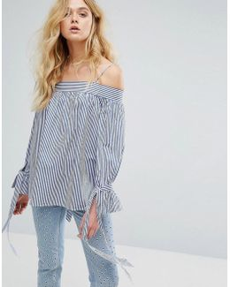 Bardot Stripe Tie Sleeve Top