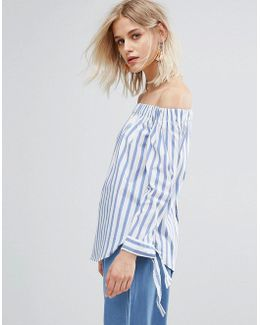 Stripe And Tie Sleeve Off The Shoulder Top