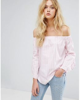 Stripe And Frill Sleeve Off The Shoulder Top
