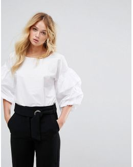 Balloon Gathered Sleeve Top