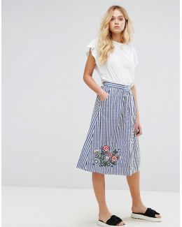Stripe And Embroidered Skirt