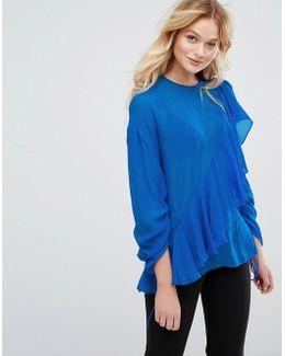 Ruffle Silk Shirt