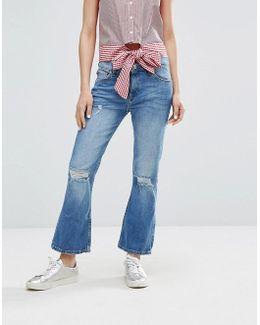 Slash Knee Cropped Flare Jeans