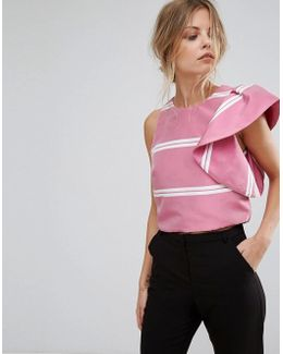 Ruffle Shoulder Stripe Top