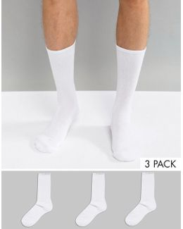Performance Crew Sock In 3 Pack White With Coolmax