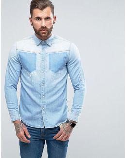 Modern Arc Shirt Long Sleeve Bleach Pocket