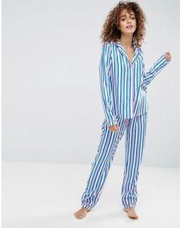 Bright Stripe Traditional Shirt & Pant Pajama Set
