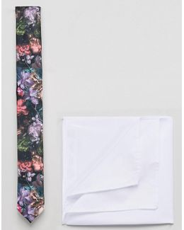 Slim Floral Tie And White Pocket Square