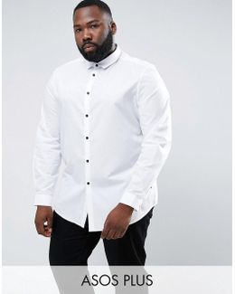 Plus Regular Fit Shirt In White With Contrast Buttons