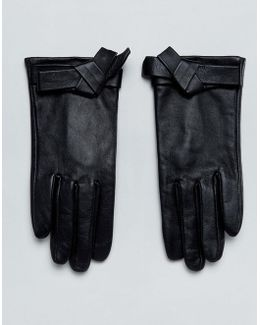 Leather Knot Bow Gloves