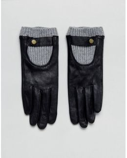 Leather Glove With Rib Cuff