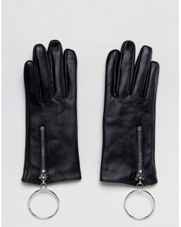 Leather Glove With Oversized Ring