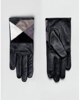 Leather & Suede Mix Touch Screen Gloves In Mono