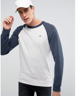 Icon Crew Neck Sweatshirt Contrast Raglan Sleeves Regular Fit In Oatmeal/navy