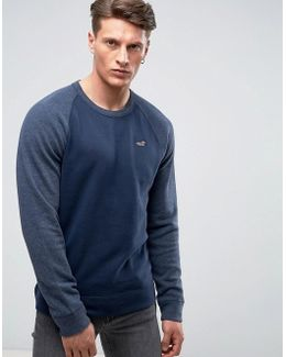 Icon Crew Neck Sweatshirt Tonal Raglan Sleeves Regular Fit In Navy Marl