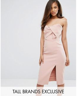 Exagerated Bow Detail Bandeau Midi Dress
