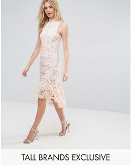 Allover High Neck Premium Lace Midi Dress