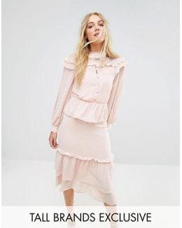 Premium Metallic Chiffon Layered Ruffle Midi Dress