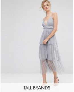 Premium Tulle Ruffle Layered Midi Dress With Starppy Back Detail