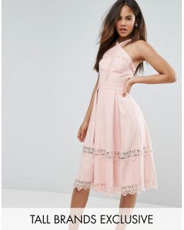 Premium Frill High Neck Prom Skater Dress With Lace Contrsat Inserts
