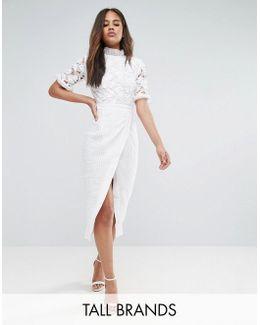 Premium Lace Top Wrap Front Midi Dress