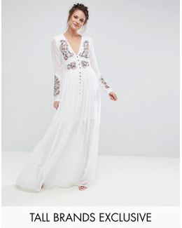 Folk Embroidered Button Down Maxi Dress