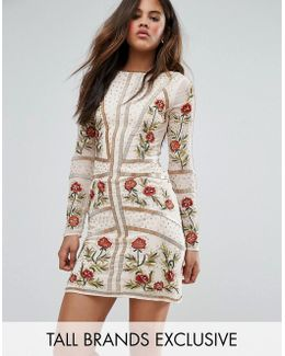 Embellished Shift Dress With Floral Embroidery
