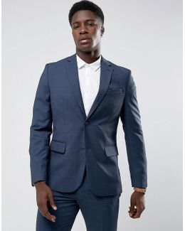 Man Slim Fit Check Suit Jacket In Navy
