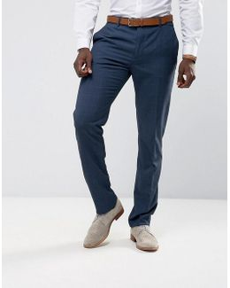 Man Slim Fit Check Suit Trousers In Navy