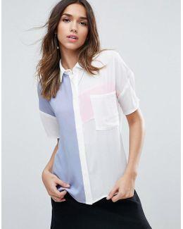 Colourblock Short Sleeve Blouse